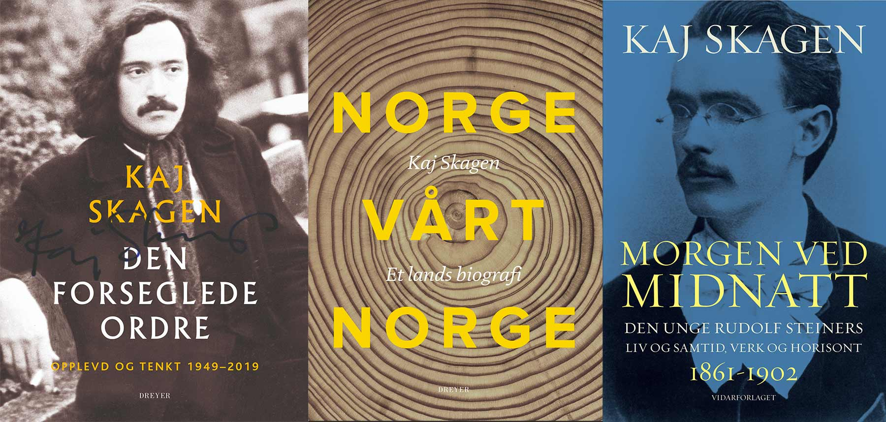 Omslag av sakprosabøker av Kaj Skagen