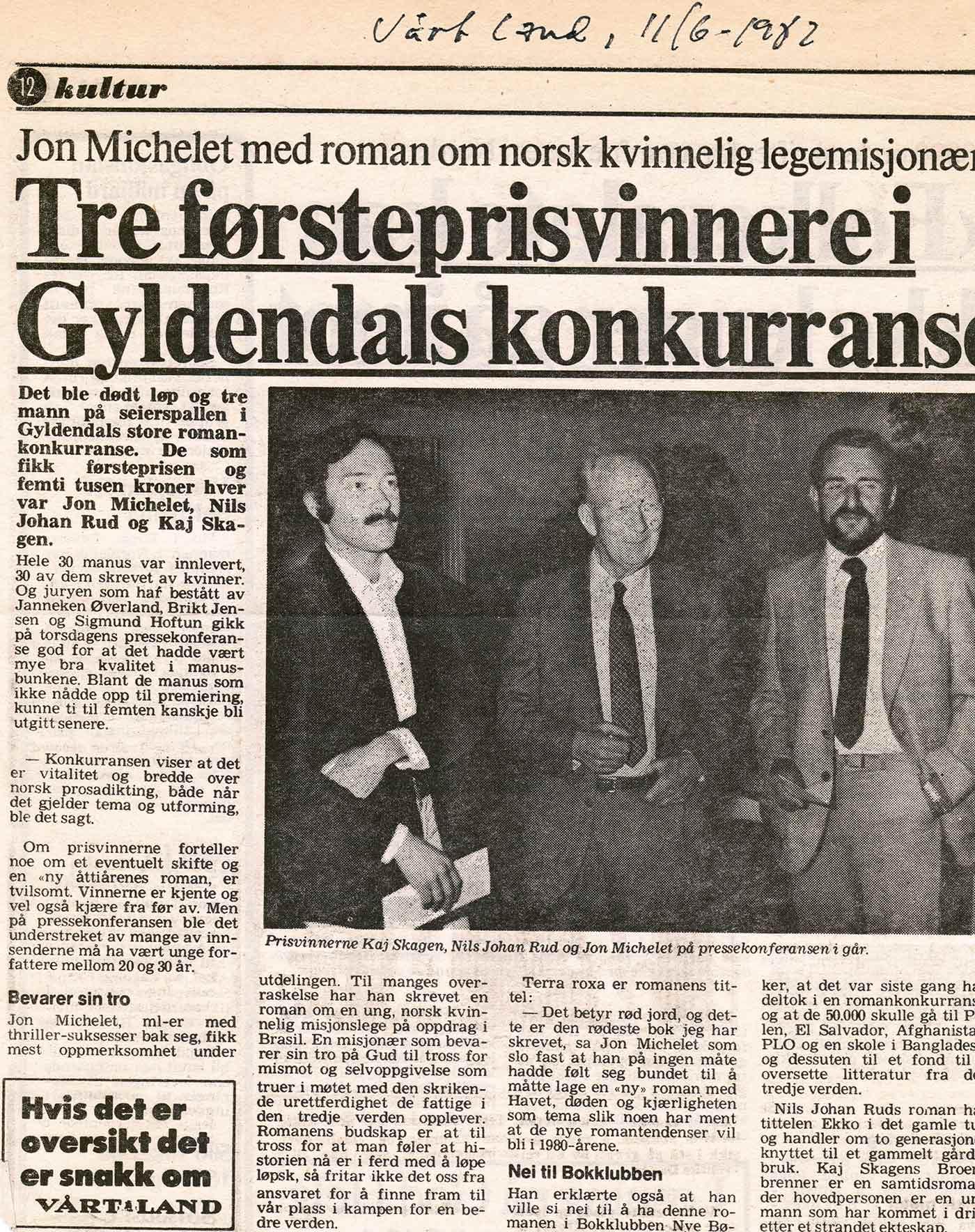 faksimile fra Vårt Land 1982