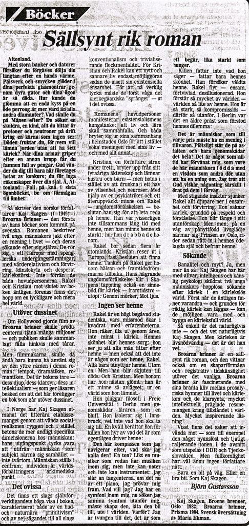 Anmeldelse i NTW 1985