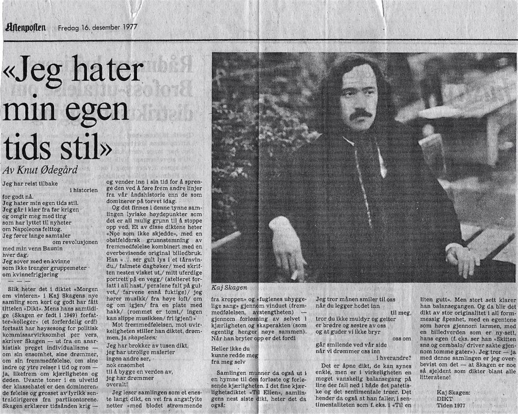 Utklipp fra Aftenposten 1977