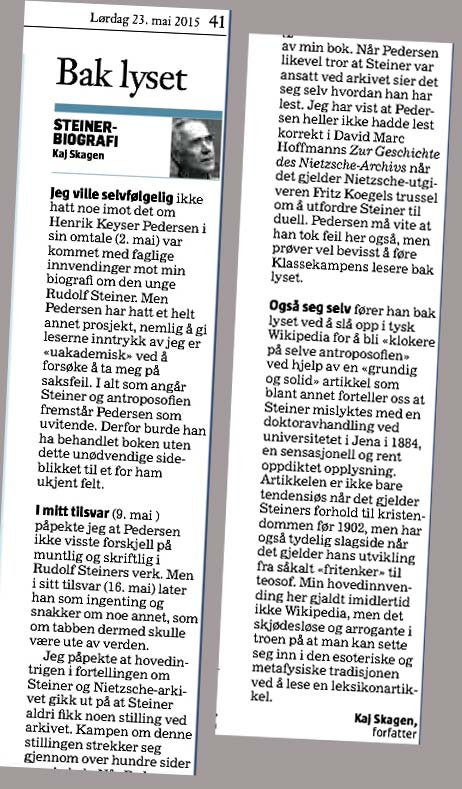 Utklipp fra Morgenbladet mai 2015