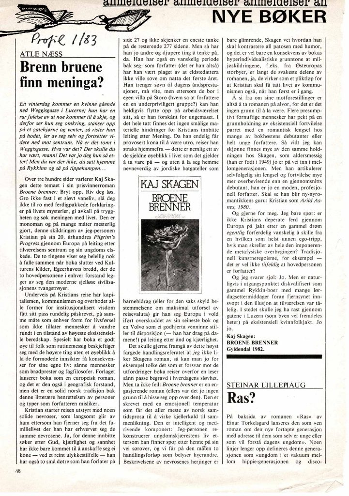 Utklipp fra Profil 1983