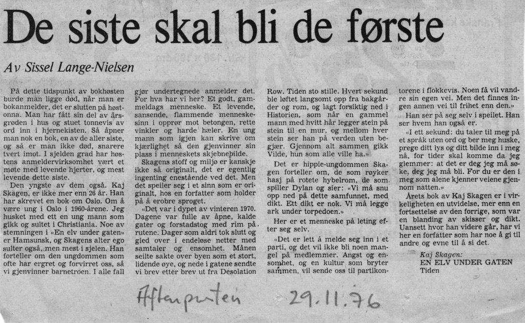 Utklipp fra Aftenposten