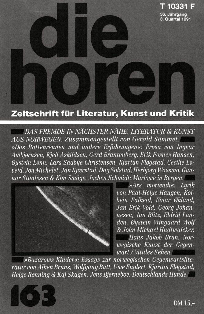 Forside tidsskriftet Die Horen