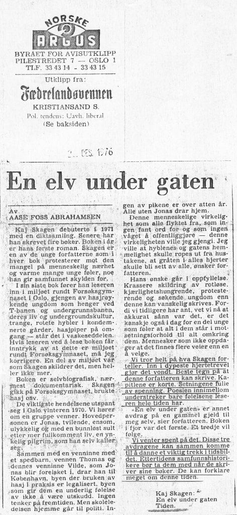Utklipp fra Fædrelandsvennen 1976