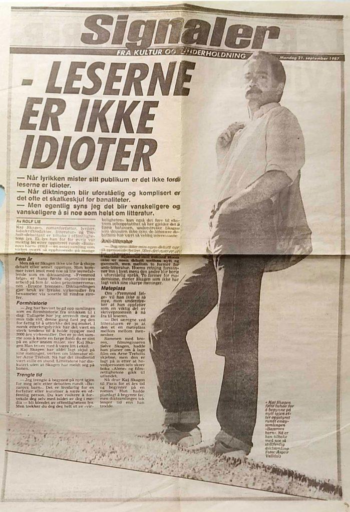Utklipp av intervju i Dagbladet