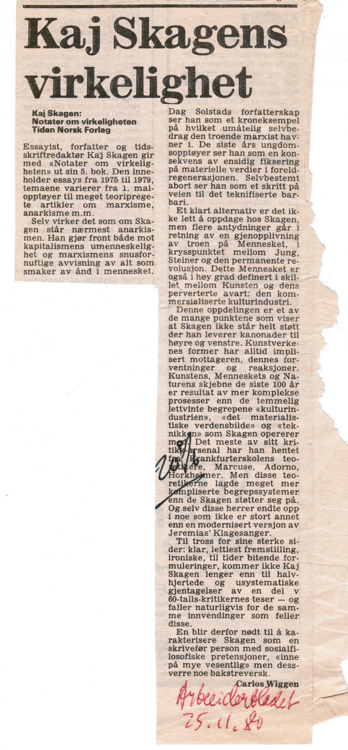 Bokanmeldelse i Arbeiderbladet 1980