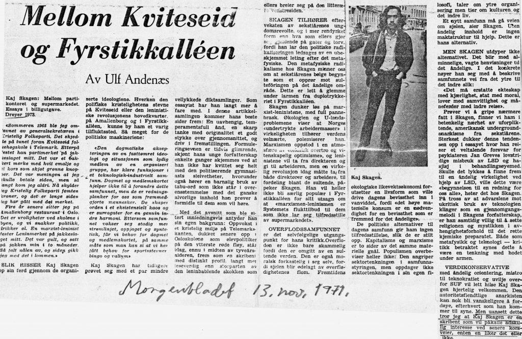 Utklipp fra Morgenbladet 1974
