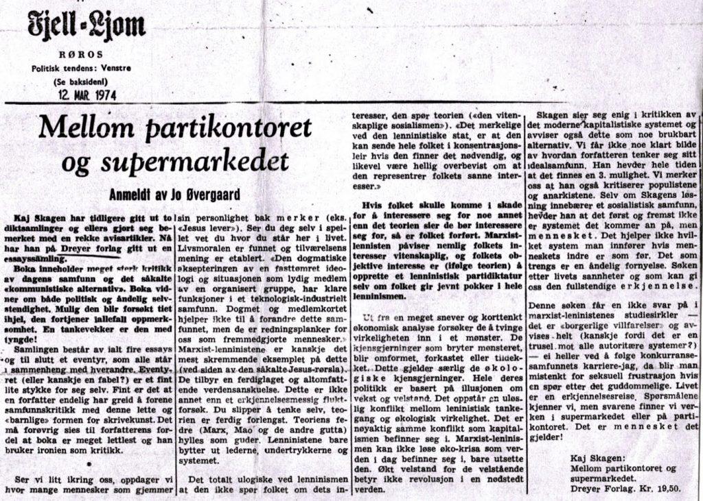 Utklipp fra Fjell-Ljom 1974