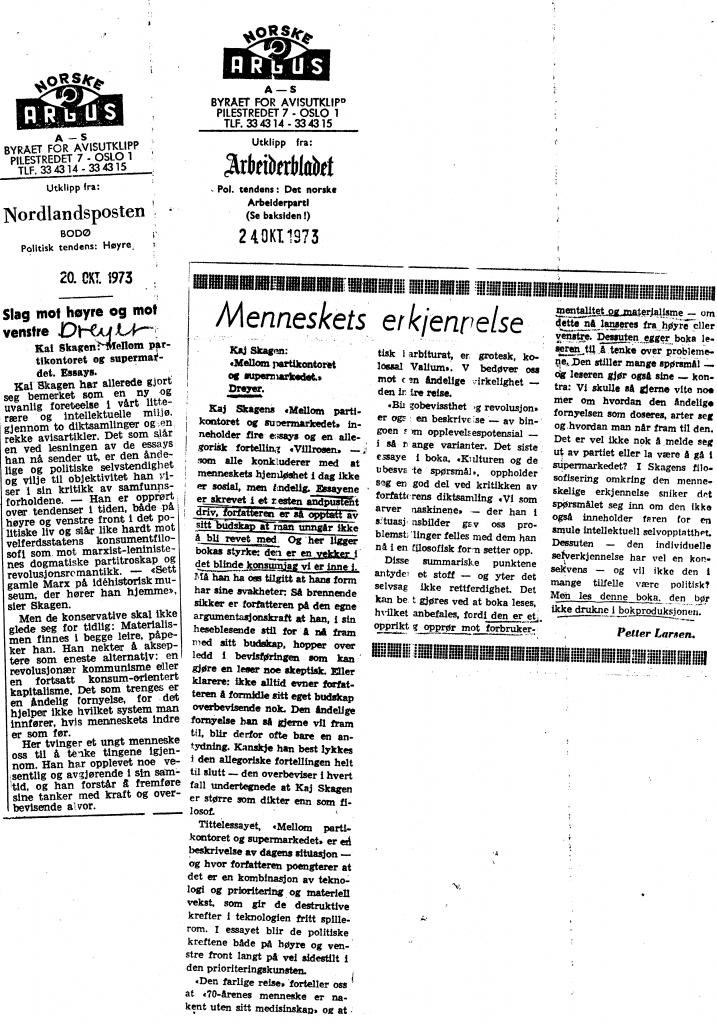 Faksimiler fra Nordlandsposten og Arbeiderbladet 1973