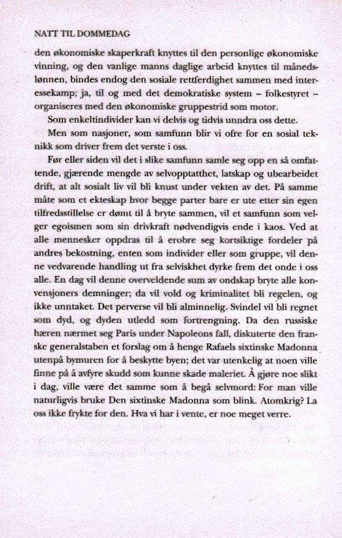 Utdrag fra Natt til dommedag av Kaj Skagen.