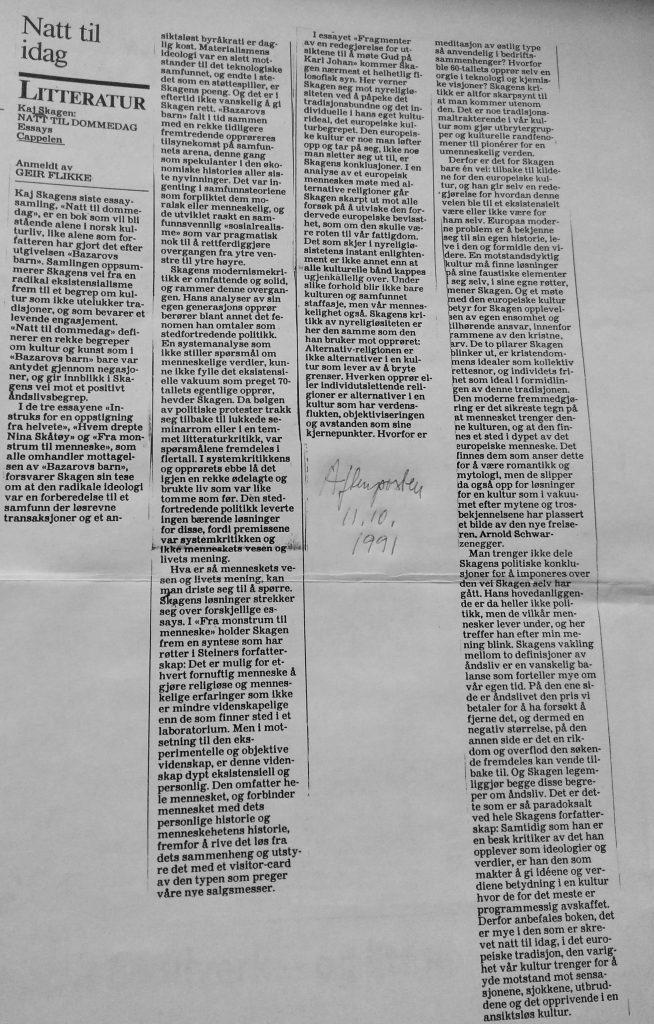 Utklipp fra Aftenposten 1991