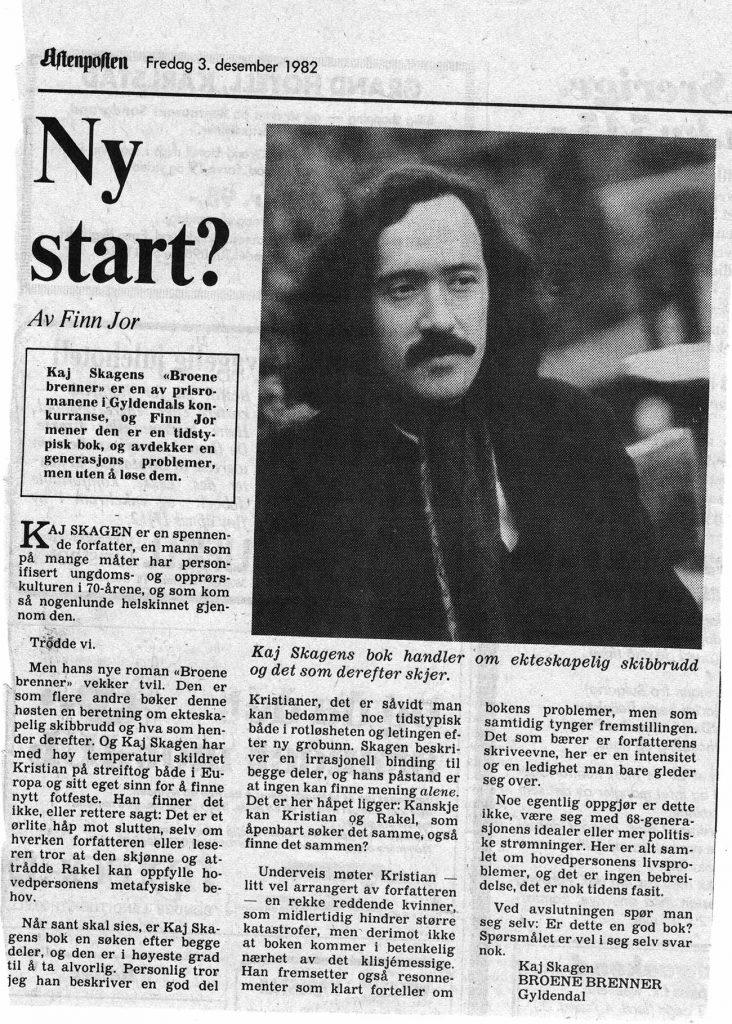 Utklipp fra Aftenposten 1982
