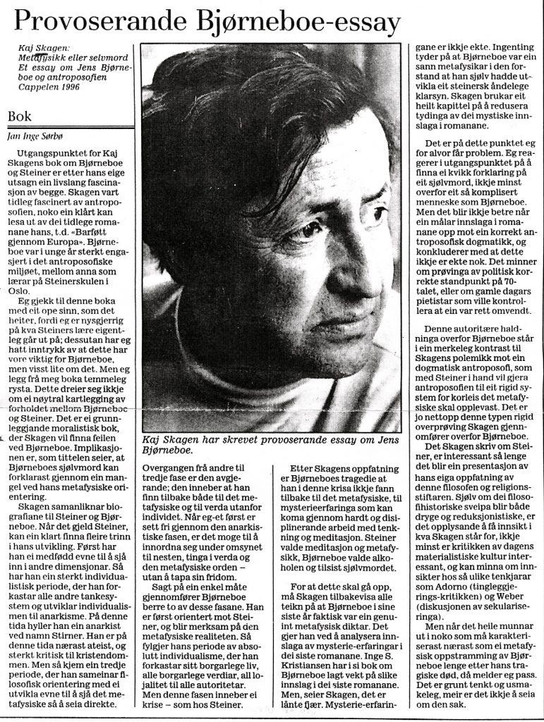 Utklipp fra Stavanger Aftenblad 1996