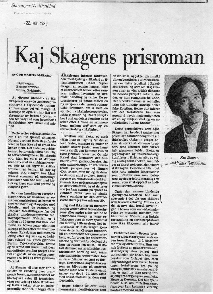 Anmeldelse i Stavanger Aftenblad 1982