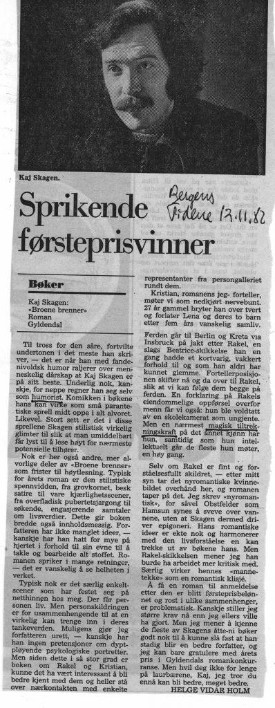 Anmeldelse i Bergens Tidende 1982