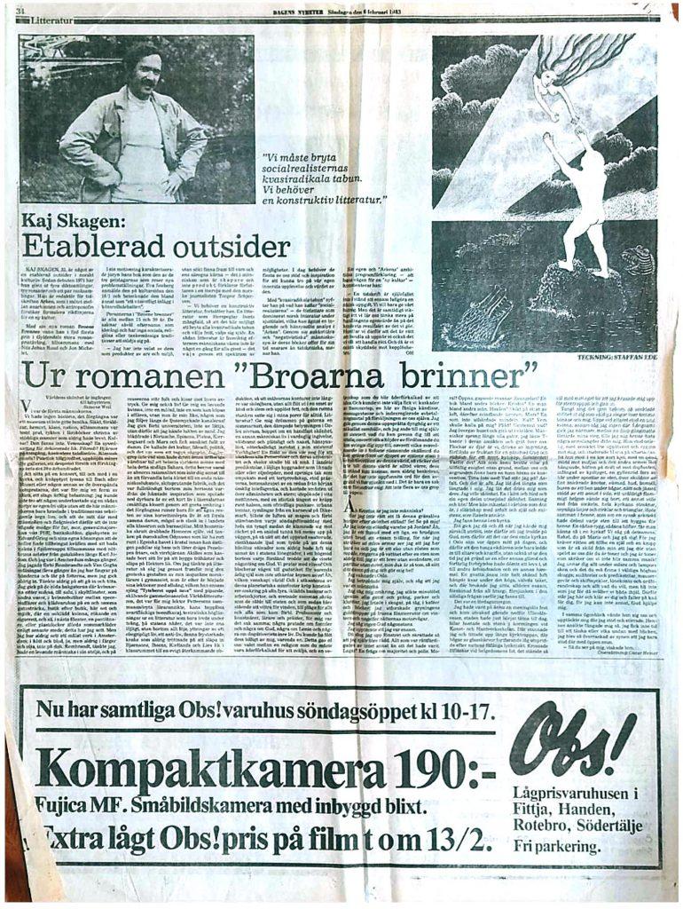 Utklipp fra Dagens Nyheter 1985