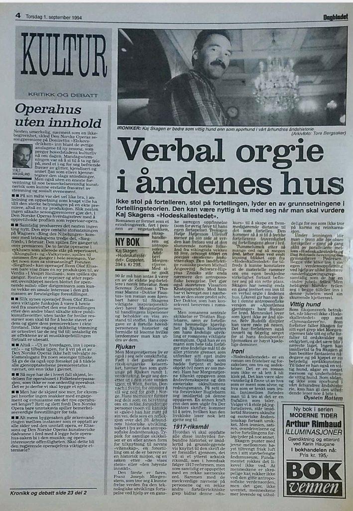 Verbal orgie i åndenes hus i Dagbladet 1994