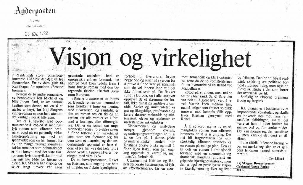 Utklipp fra Agderposten 1982