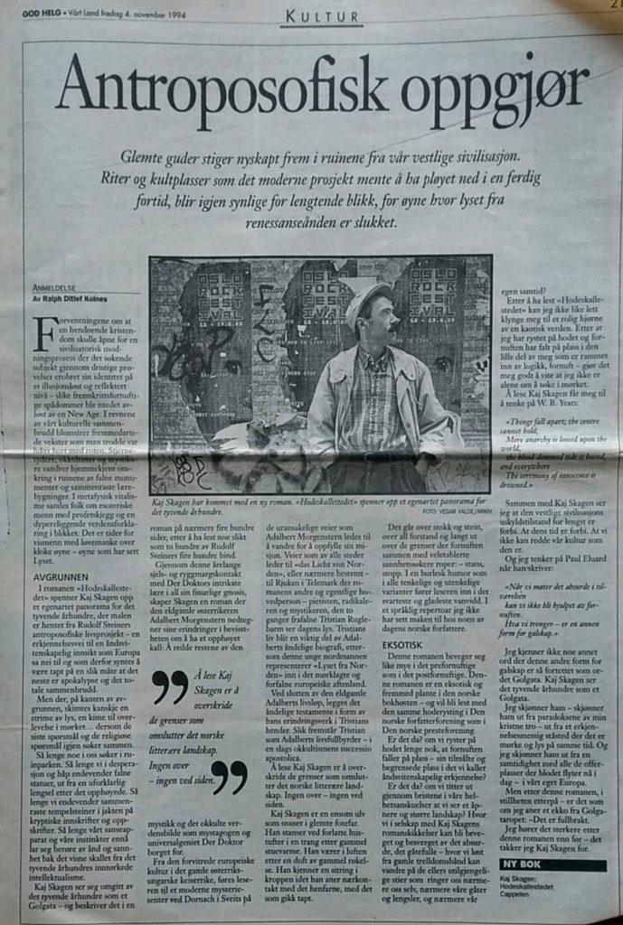 Anmeldelse i Vårt Land 4. november 1994.