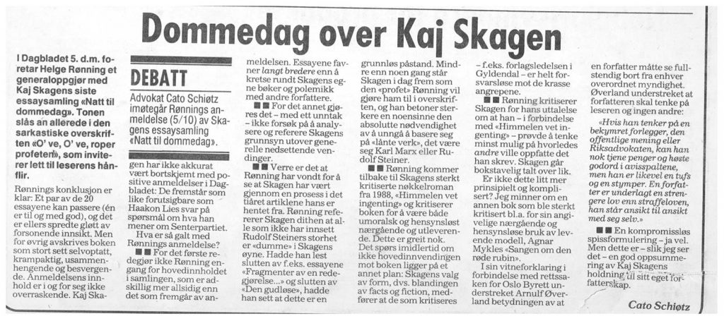 Utklipp fra Dagbladet 1991