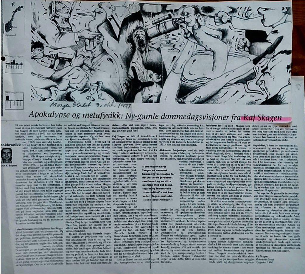 Utklipp fra Morgenbladet 1998