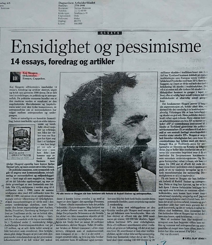Utklipp fra Dagsavisen 1998