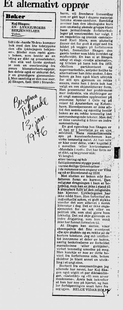 Kritikk av En lykkejegers bekjennelser i Bergens Tidende 1976