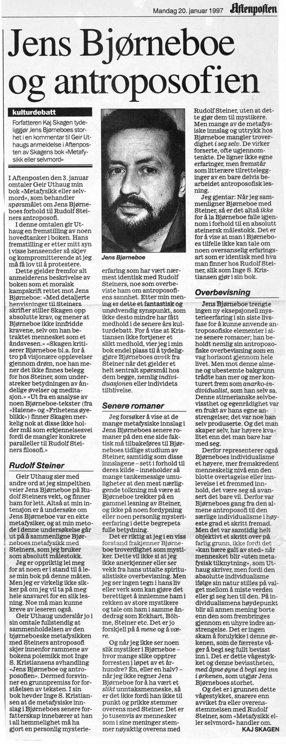 Utklipp fra Aftenposten 1997