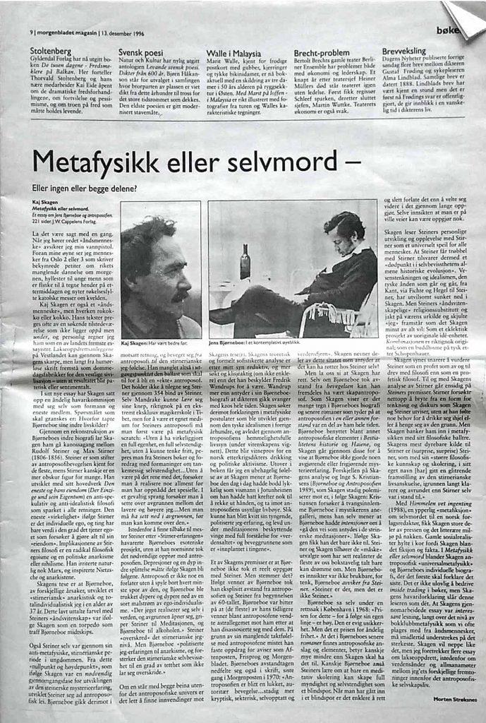 Utklipp fra Morgenbladet, 1996