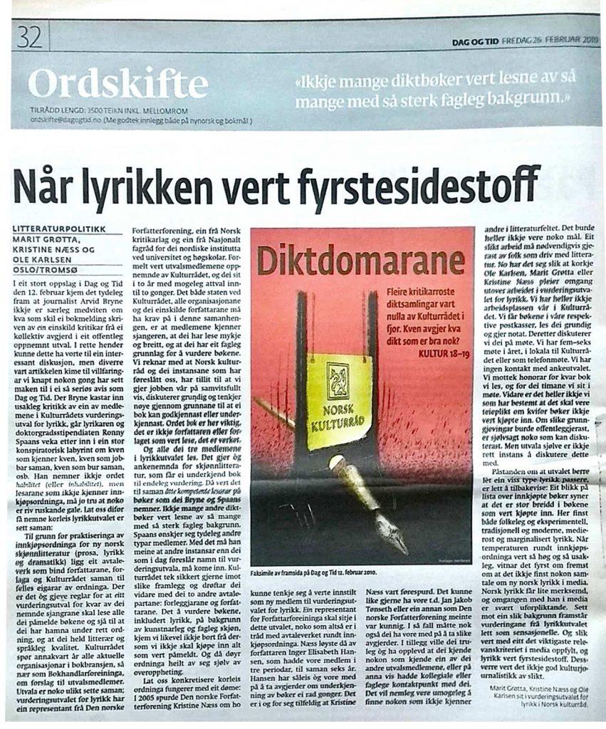 Faksimile frå Dag og Tid