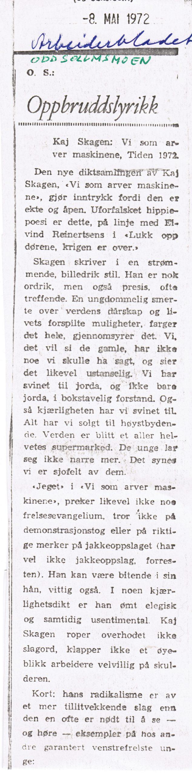 Utklipp fra Arbeiderbladet mai 1972