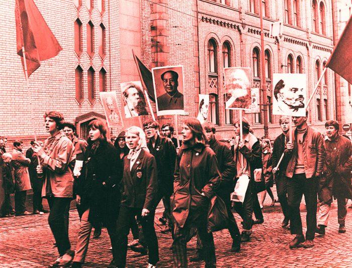 Demonstrasjonstog med tilhengere av Mao og Lenin