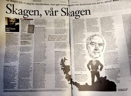 Faksimile av Rune Slagstads omtale av Norge, vårt Norge i Klassekampen