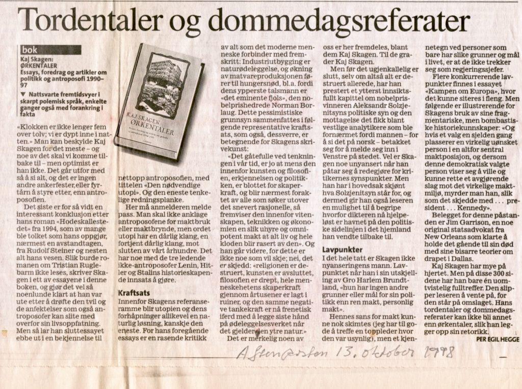 Utklipp fra Aftenposten 1998.