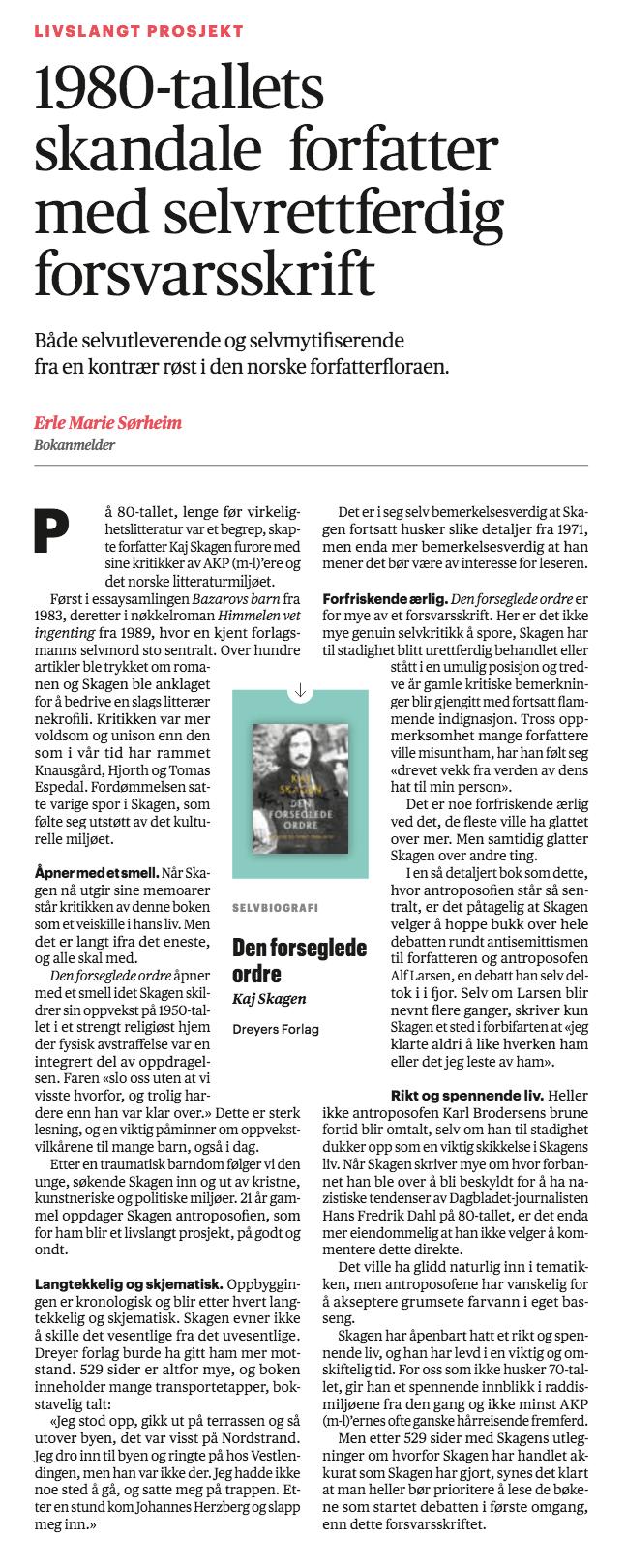 Erle Marie Sørheims anmeldelse i Aftenposten av Den forseglede ordre, 2019.