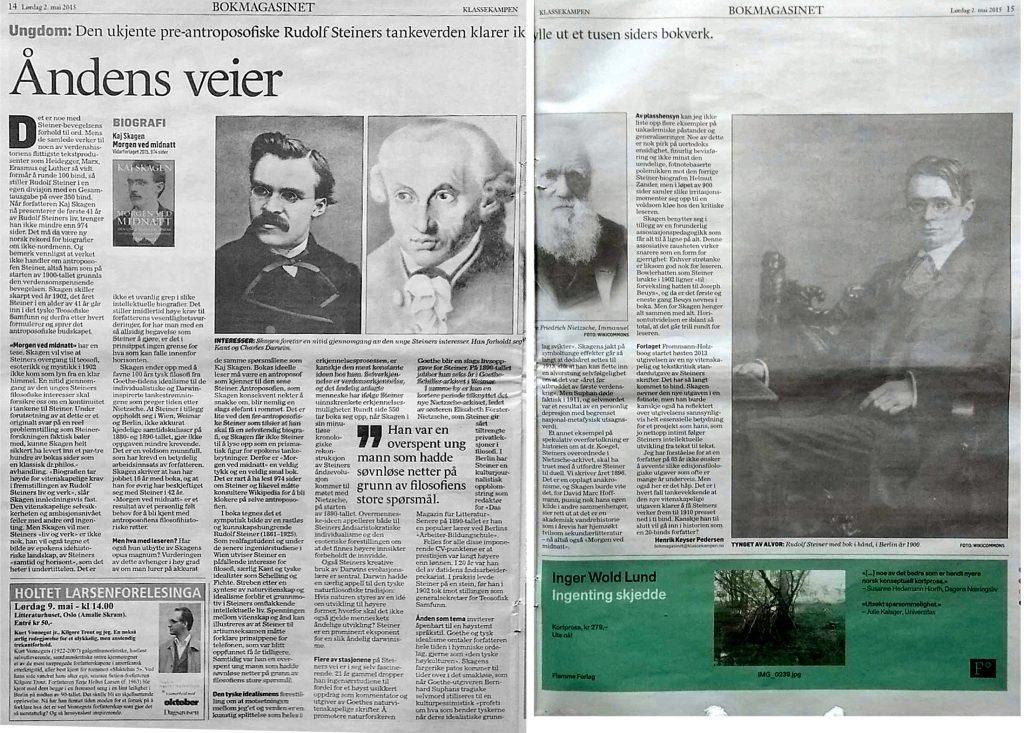 Anmeldelse av Morgen ved midnatt i Klassekampen 2. mai 2015