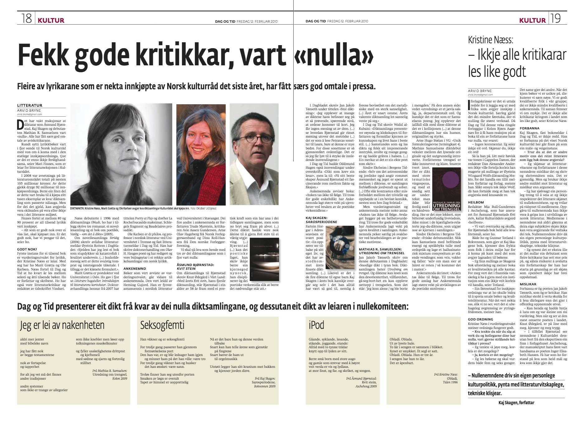 Faksimile fra Dag og Tid februar 2010