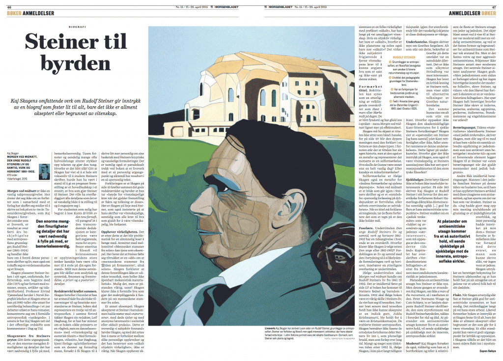 Utklipp fra Morgenbladet 17. april 2015